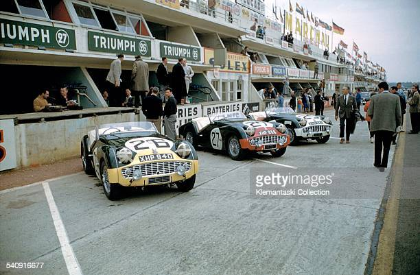 The Le Mans 24 Hours Le Mans June 2021 1959 The Triumph team cars in the pits before the start Unfortunately they were all retirements