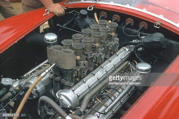 The Le Mans 24 Hours; Le Mans, June 22-23, 1957. This is the magnificent Ferrari 3.8 liter tipo 315 engine with four overhead camshafts. It was...