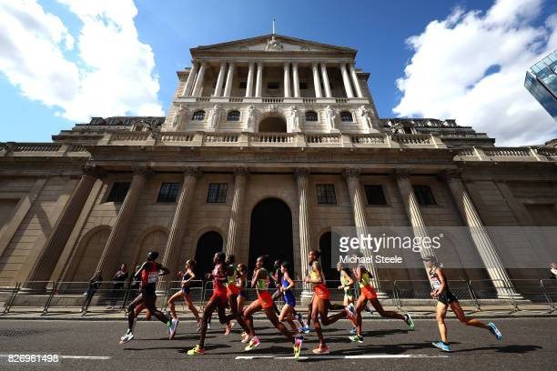 The lead athletes run past the Bank of England during the Women's Marathon on day three of the 16th IAAF World Athletics Championships London 2017 on...