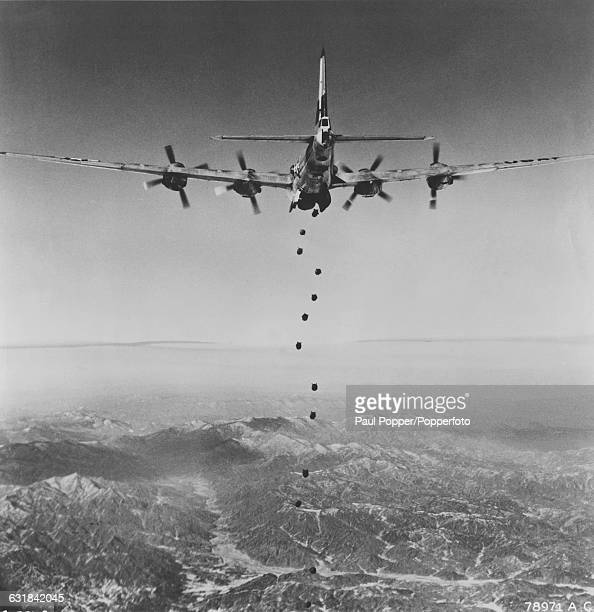 The lead bomber of the 19th Bomb Group of the United States Air Force during their 150th combat mission since the start of the Korean War February...