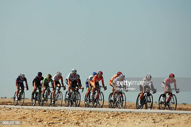 The lead group ride through the Qatar desert during stage 3 of the 2016 Ladies Tour of Qatar from Al Zubarah Fort to Madinat Al Shamal on February 4...