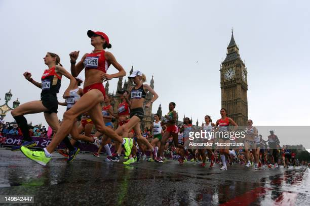 The lead runners in the Women's Marathon pass Parliament on their penultimate circuit on Day 9 of the London 2012 Olympic Games on August 5, 2012 in...