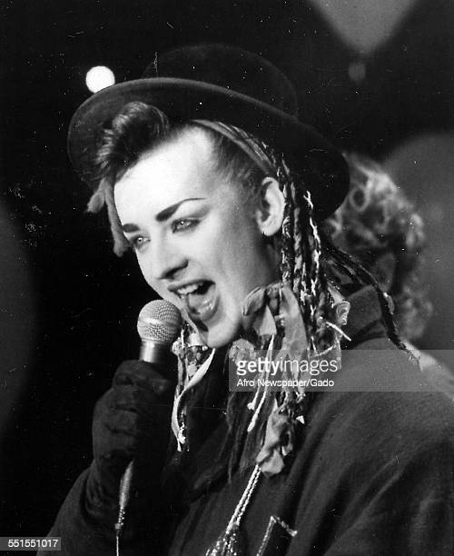 The lead singer Boy George of Culture Club performing on Whats Happening January 19 1985