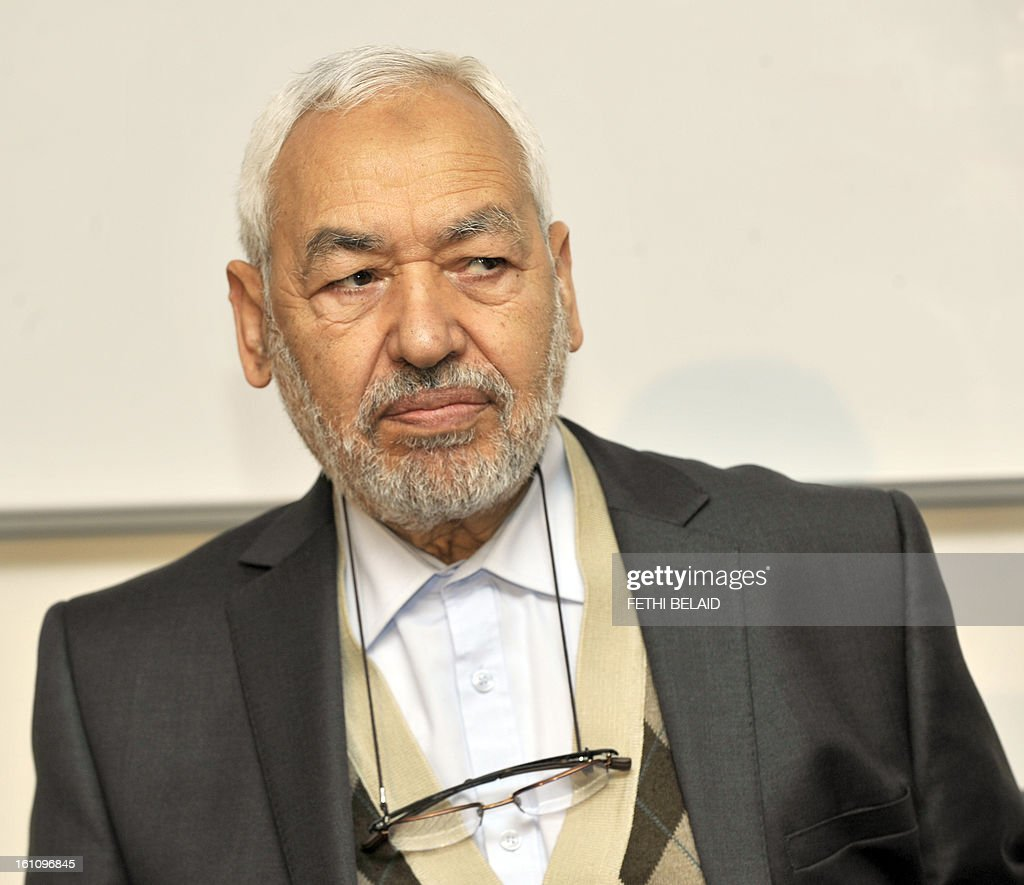 The leader and founder of the ruling Ennahda Islamic party, Rached Ghannouchi looks on before giving a press conference at the Higher Institute of Islamic Civilization on February 9, 2013 in Tunis. Ghannouchi has condemned the assassination of opposition leader Chokri Belaid and accused people who are against the Jasmine Revolution.