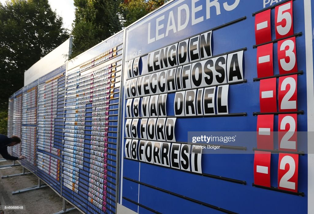 The leader board during the first round of the 2017 Irish Challenge at Mount Wolseley Hotel Spa and Golf Resort on September 14, 2017 in Carlow, Ireland.