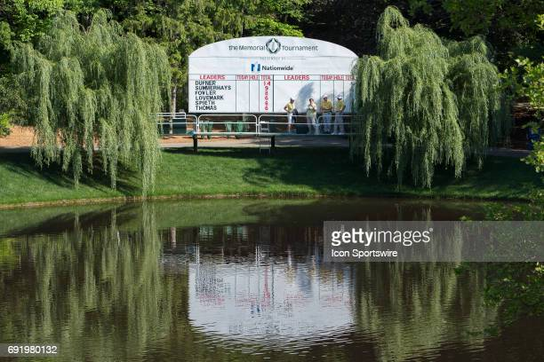 The leader board is posted for start of the Memorial Tournament Third Round on June 3 2017 at Muirfield Village Golf Club in Dublin Ohio