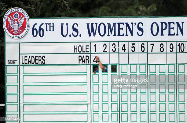 The leader board is prepared for the tournament during a practice round for the 2011 U.S. Women's Open at The Broadmoor on July 6, 2011 in Colorado...