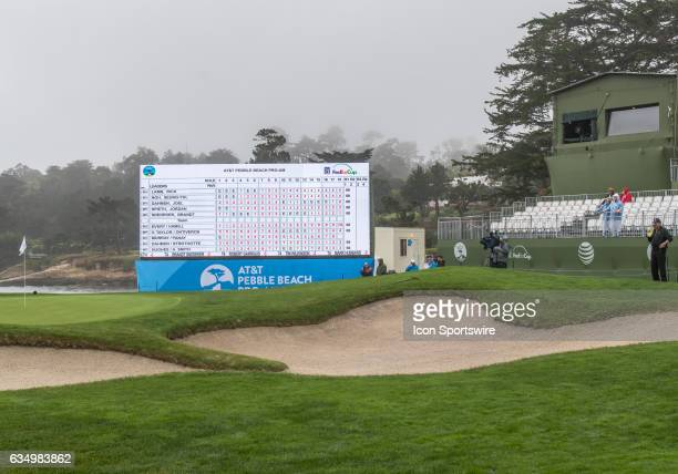 The leader board on the 18th green posts the first round results during the second round of the AT&T Pebble Beach Pro-Am in Pebble Beach, CA on...
