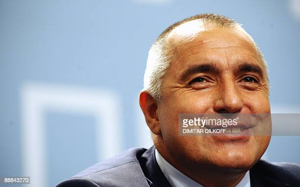The leader of centreright Citizens for European Development of Bulgaria party and Sofia Mayor Boyko Borisov smiles during his news conference in...