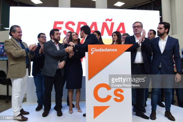The leader of Ciudadanos Albert Rivera is seen with members of Ciudadanos after his press conference during the 10N election night where the party...