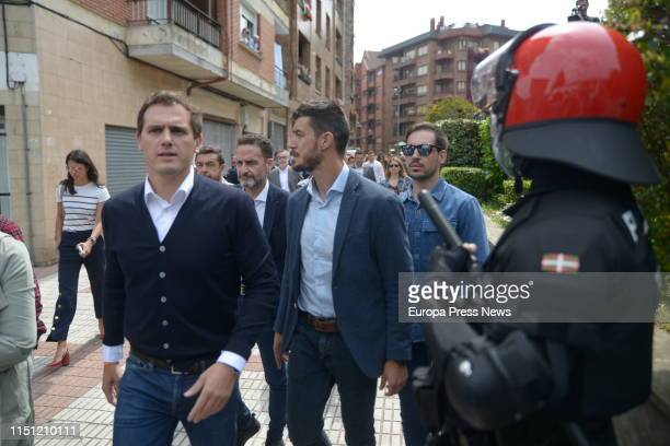 The leader of Ciudadanos Albert Rivera participates in a tribute to the victims of terrorism organized in the village of the terrorist Josu Ternera...