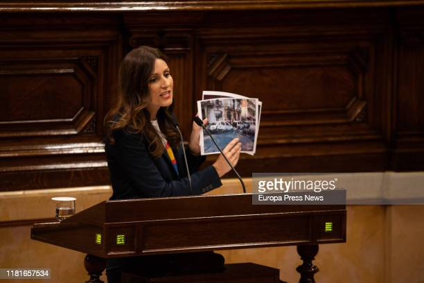 The leader of Ciudadanos in Cataluña Lorena Roldán is seen showing images of the destruction caused in Barcelona during the demonstrations for the...
