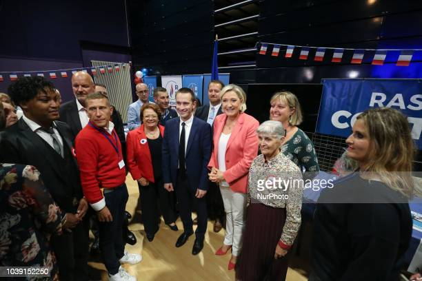 The leader of France's Rassemblement National farright political party Marine Le Pen and Cyril Nauth RN farright mayor of ManteslaVille pose for...