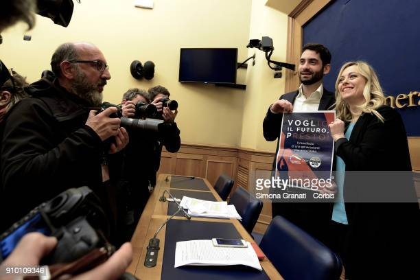 The leader of Fratelli d'Italia Giorgia Meloni and the Secretary of the Gioventu Nazionale Fabio Roscani meet the press to present her party's youth...