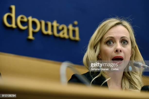 The leader of Fratelli d'Italia Giorgia Meloni meets the press to present her party's youth programme on January 25 2018 in Rome Italy The Italian...