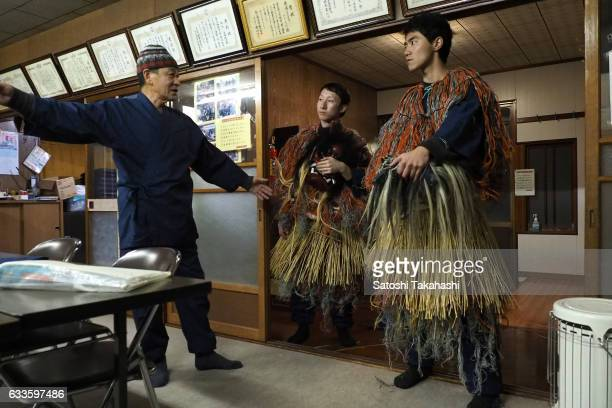 The leader of Namahage players at Sugoroku district Mikio Miura who teaches young Namahage players the manners of the Namahage festival of...