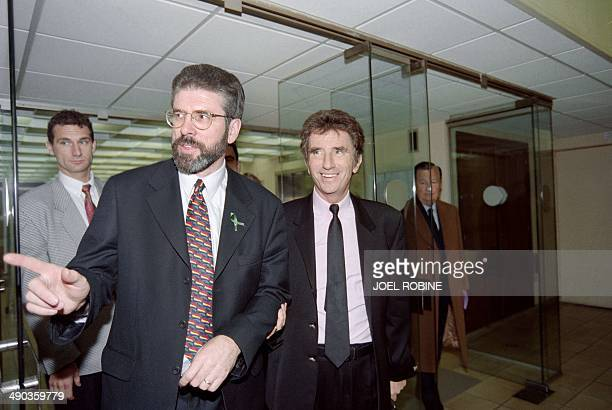 The leader of Northern Ireland's Sinn Fein the political wing of the Irish Republican Army Gerry Adams arrives on November 12 1997 at the French...