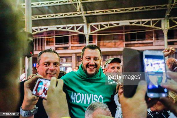The leader of Northern League Matteo Salvini posing with supporters during the Lega Nord festival in Saluzzo Italy