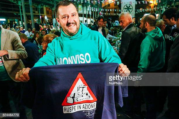 The leader of Northern League Matteo Salvini show a tshirt with the simbol of his politic in Saluzzo Italy