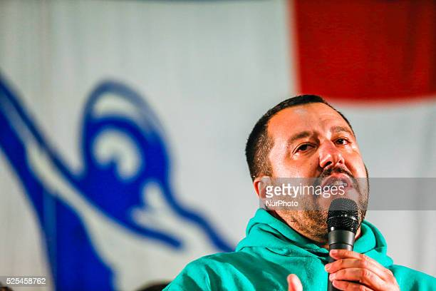 The leader of Northern League Matteo Salvini speaks on the stage at the Lega Nord event in Saluzzo Italy on September 11 2015