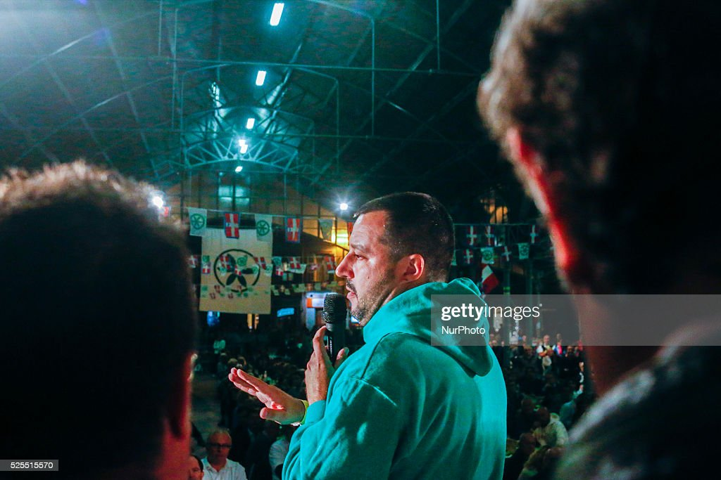 Salvini speaks in Saluzzo, Italy : News Photo