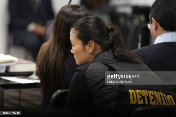 The leader of Peruvian opposition party Fuerza Popular Keiko Fujimori is seen during an appeals hearing in Lima on October 17 2018 A Peruvian...