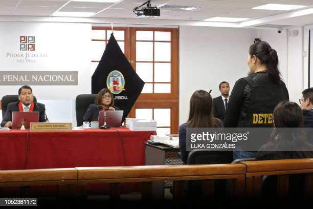 The leader of Peruvian opposition party Fuerza Popular Keiko Fujimori attends an appeals hearing in Lima on October 17 2018 A Peruvian tribunal...