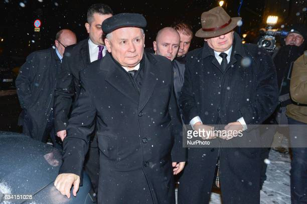 The Leader of PiS Jaroslaw Kaczynski arrives to meet the Chancellor of Germany Angela Merkel during her visit to Poland Hotel Bristol on Tuesday 7...