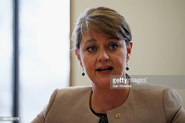 The leader of Plaid Cymru Leanne Wood speaks to reporters during a meeting with First Minister Nicola Sturgeon and the leader of the Green Party of...