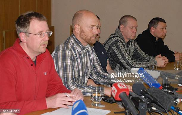 The leader of pro-Russian separatists in Slavyansk, Vyacheslav Ponomaryov, speaks in a press conference with military observers, detained by...
