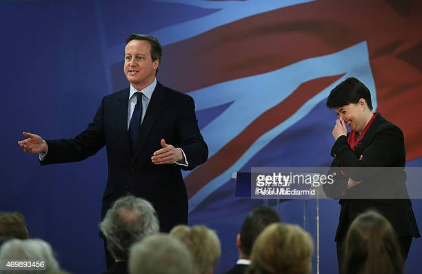 The leader of Scottish Conservatives Ruth Davidson laughs with Prime Minister David Cameron as they launch their election manifesto on April 16 2015...