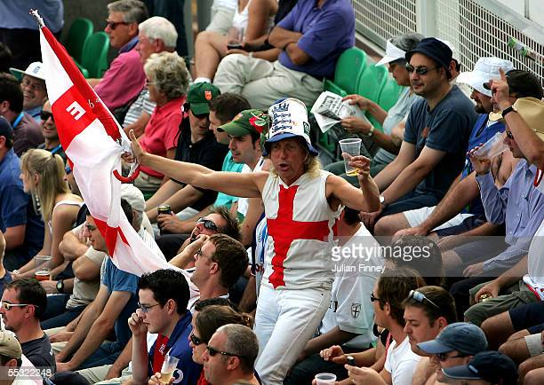 The leader of the Barmy Army attempts to lift the crowd during day two of the fifth npower Ashes Test match between England and Australia at the Brit...