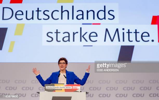 The leader of the Christian Democratic Union Annegret Kramp-Karrenbauer speaks during the congress of Germany's conservative Christian Democratic...