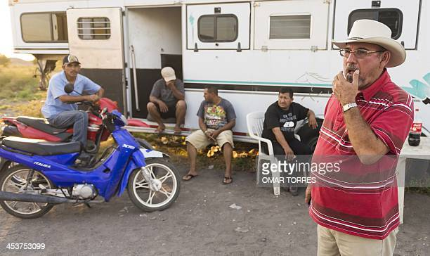 The leader of the Citizens' SelfProtection Police in La Ruana Michoacan state Mexico Hipolito Mora at a checkpoint on November 30 2013 Citizens...