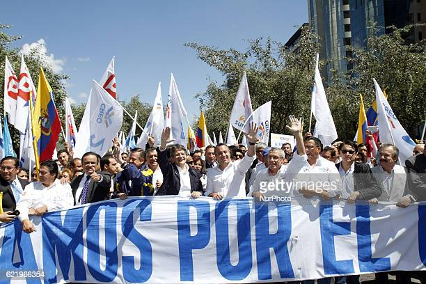 The leader of the CREO movement in Ecuador Guillermo Lasso right together with the binomial for the next elections in Ecuador Andres Paez registered...