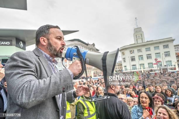 The leader of the far right party VOX Santiago Abascal gives a speech outside the Palacio de Congresos Palexo on April 22 2019 in A Coruna Spain for...