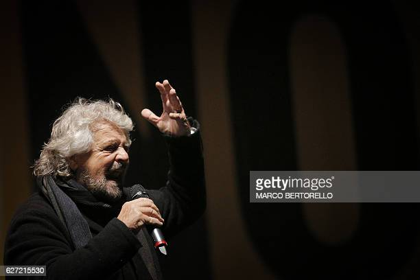 The leader of the Five Star Movement Beppe Grillo delivers a speech during a campaign meeting upon a referendum on constitutional reforms on December...