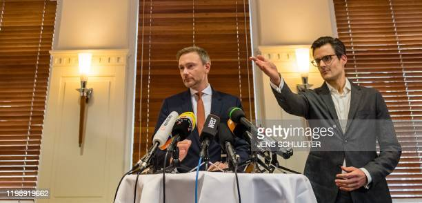 The leader of the Free Democratic Party Christian Lindner addresses a press conference in a hotel in Erfurt eastern Germany shortly after the newly...