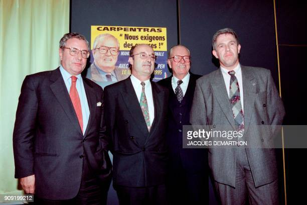 The leader of the French farright National Front party JeanMarie Le Pen poses on October 30 1995 with Daniel Simonpieri FN Mayor of Marignane Jacques...