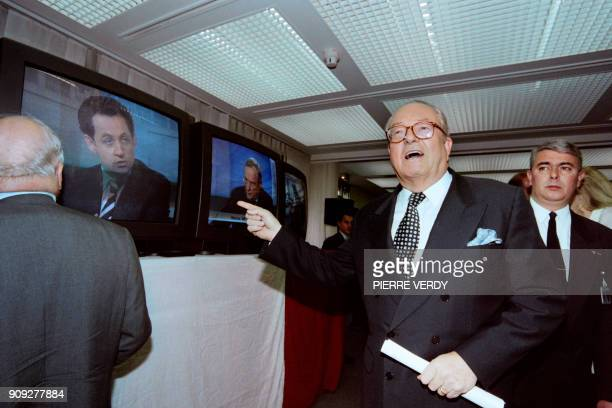 The leader of the French farright National Front party JeanMarie Le Pen comments on June 2 1997 the TV speech of Nicolas Sarkozy after the first...