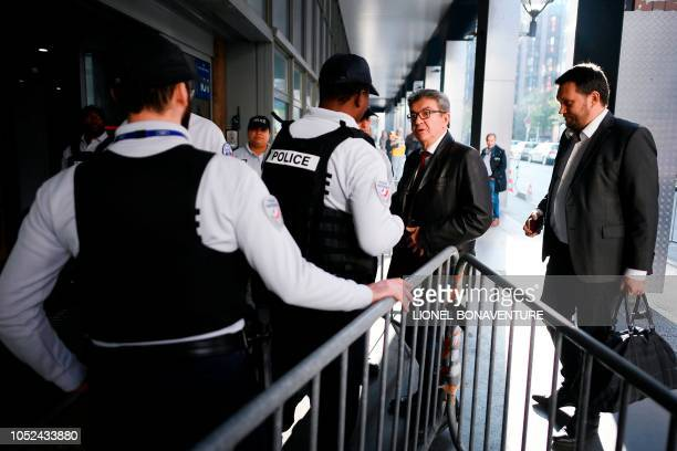 TOPSHOT The leader of the French leftist party La France Insoumise and member of parliament JeanLuc Melenchon arrives for a hearing at the...