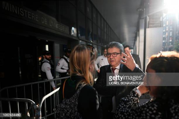 The leader of the French leftist party La France Insoumise and member of parliament JeanLuc Melenchon arrives for a hearing at the anticorruption...