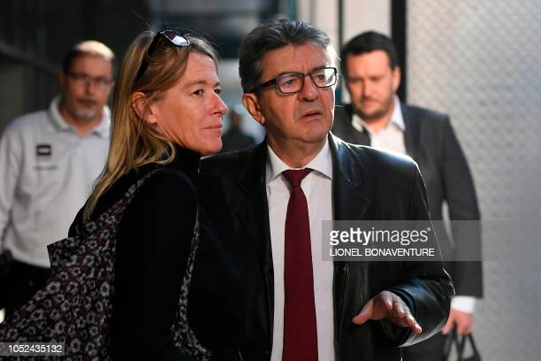 The leader of the French leftist party La France Insoumise and member of parliament Jean-Luc Melenchon arrives with Public Relations advisor Juliette...