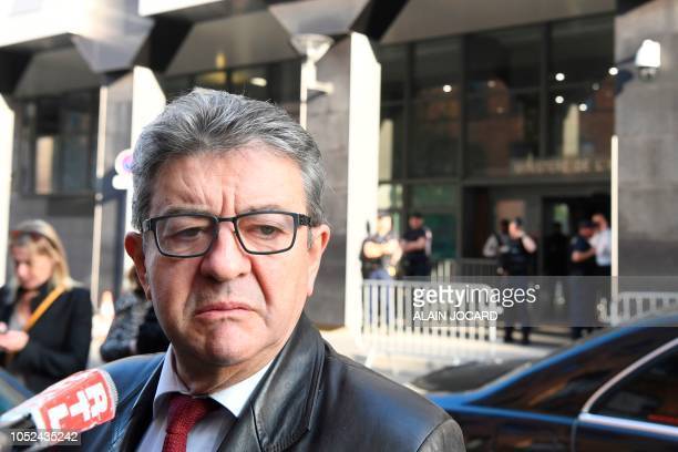 The leader of the French leftist party La France Insoumise and member of parliament JeanLuc Melenchon gives a press point as he arrives for a hearing...