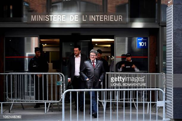 TOPSHOT The leader of the French leftist party La France Insoumise and member of parliament JeanLuc Melenchon leaves after a hearing at the...