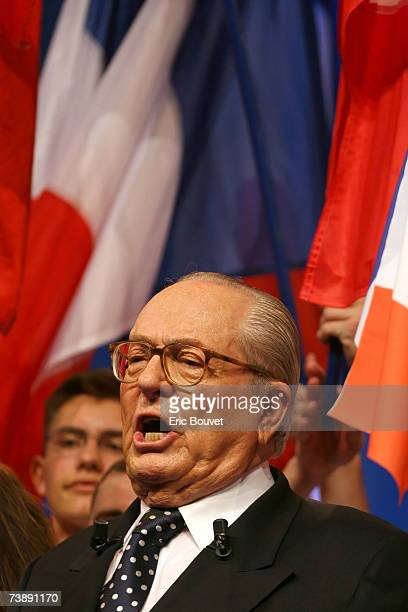 The leader of the French National Front JeanMarie Le Pen during a party meeting where he addressed his political agenda for the forthcoming campaign...