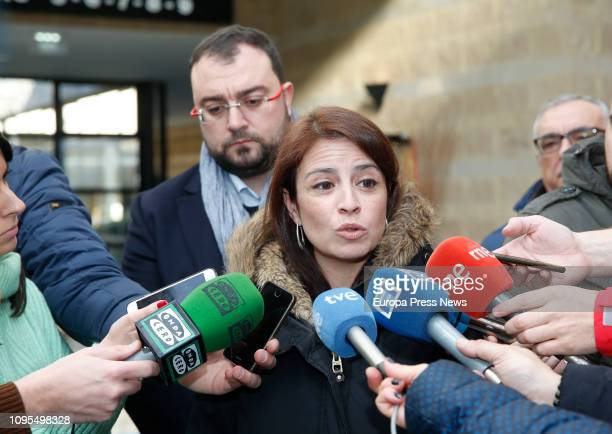 The leader of the FSAPSOE asturian political party Adrian Borbon and the spokeswoman of the socialist group in the Parliament Adriana Lastra give the...