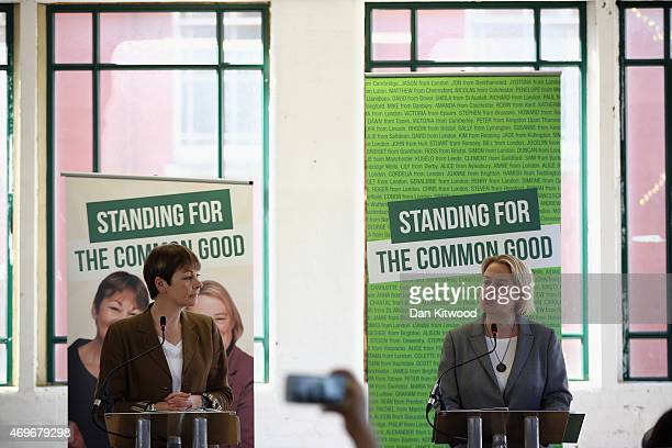 The leader of the Green Party of England and Wales Natalie Bennett and Caroline Lucas member of parliament for the Green Party speak during the...