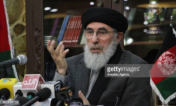 The leader of the Hezbe Islami party Gulbuddin Hekmatyar holds a press conference in Kabul Afghanistan on January 4 2018