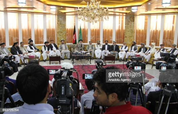 The leader of the Hezbe Islami party Gulbuddin Hekmatyar speaks during his first press conference in Kabul Afghanistan on June 08 2017